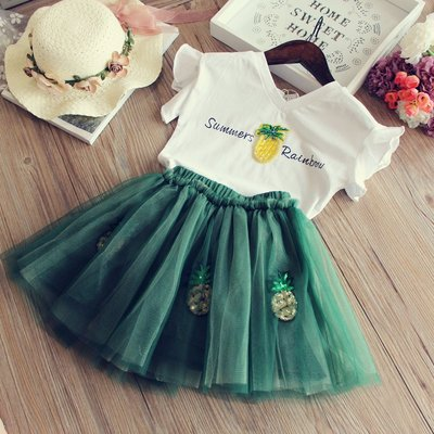 Amber's Clothes 綠色鳳梨亮片T恤+澎澎紗裙套裝