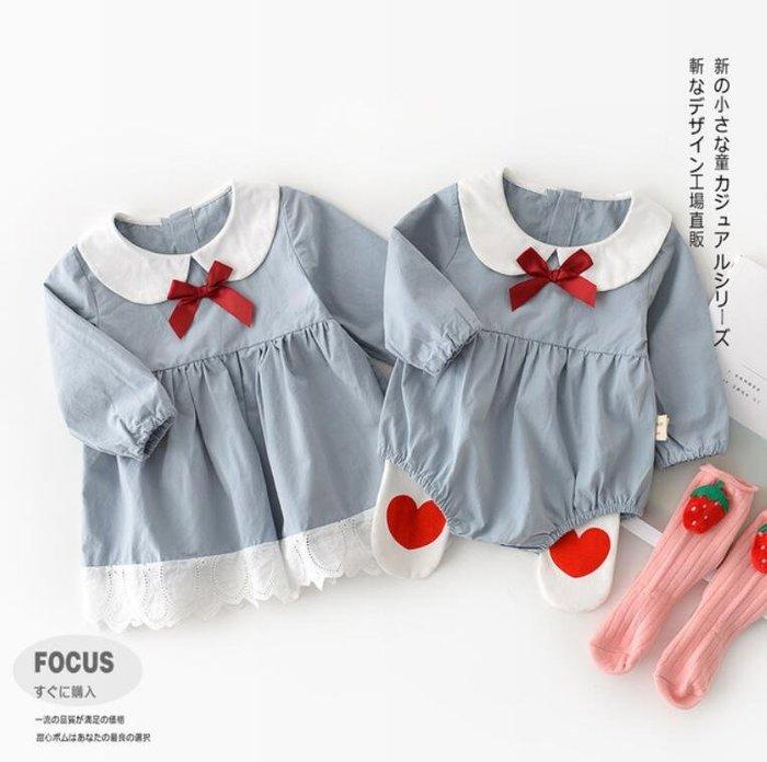 莎芭 連身裝 秋款嬰小童姐妹裝 韓版女寶寶娃娃領蝴蝶結三角爬服 哈衣