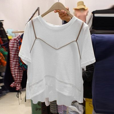 ❤Princess x Shop❤夏季新款寬鬆吊帶拼接假兩件設計感T恤TMY29-46-3韓國同款女裝短袖