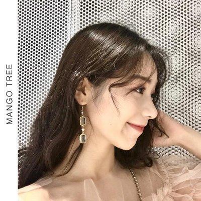耳環 天然淡水異形小珍珠耳鉤簡約百搭水晶長款耳環耳夾