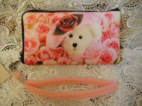 ~~凡爾賽生活精品~~全新粉紅色玫瑰花泰迪熊造型手機袋