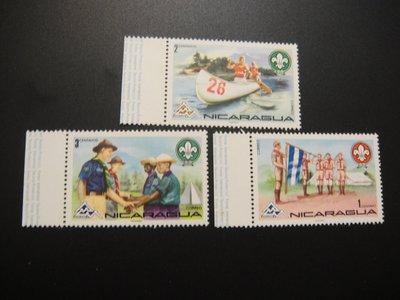 【大三元】美洲郵票-尼加拉瓜郵票-各國專題郵票-童子軍系列-新票3枚-原膠
