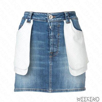 【WEEKEND】 UNRAVEL 外翻 反穿效果 牛仔 短裙 窄裙 迷你裙 藍色 折扣