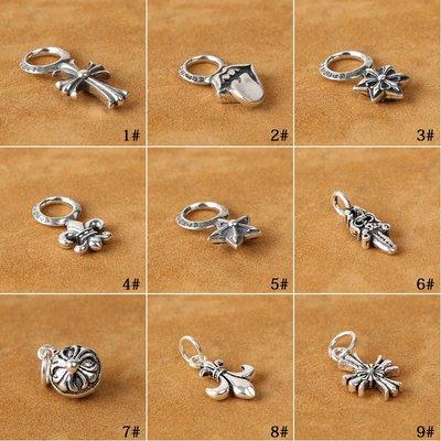 【H&M】03  S925純銀飾品 手串DIY泰銀配件黑瑪瑙手鏈十字架小吊墜掛件