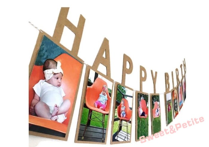 PR480❤慶生派對生日快樂相片掛旗❤ 寶寶派對 抓週 周歲派對 生日掛飾 生日彩旗 周歲 男寶寶 女寶寶 派對布置