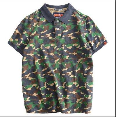 時尚服飾 夏季潮流寬松運動軍旅工裝迷彩POLO衫男短袖T恤 開領純棉保羅半袖