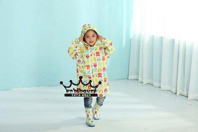 艾莉小舖~ins爆款韓國原單enbihouse兒童雨衣雨披 貓頭鷹雨衣防水拉鍊鬆緊