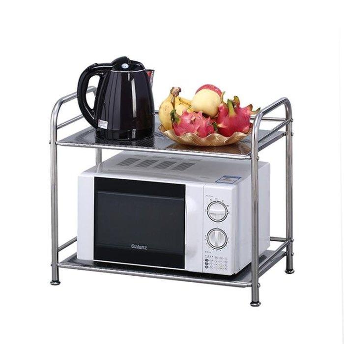 微波爐置物架免打孔廚房用品不銹鋼烤箱架子台面收納多功能雙層 贈6鉤Y-優思思