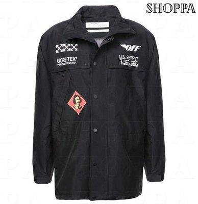 【SHOPPA】OFF WHITE GORE-TEX  印刷圖案 外套 黑色  18秋冬新款