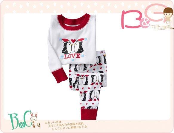 【B& G童裝】正品美國進口OLD NAVY企鵝圖樣純棉紅邊白色長袖長褲純棉睡衣組5yrs
