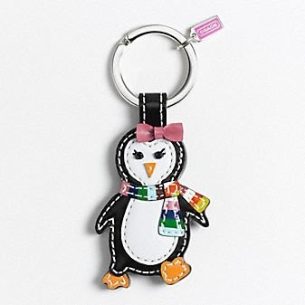 Coco小舖 COACH 93014 Patent Leather Penguin Key Fob 漆皮企鵝寶寶 鑰匙圈