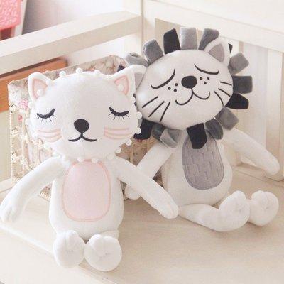 INS同款抱枕貓咪獅子兒童安撫毛絨玩具公仔家居兒童房裝飾禮物
