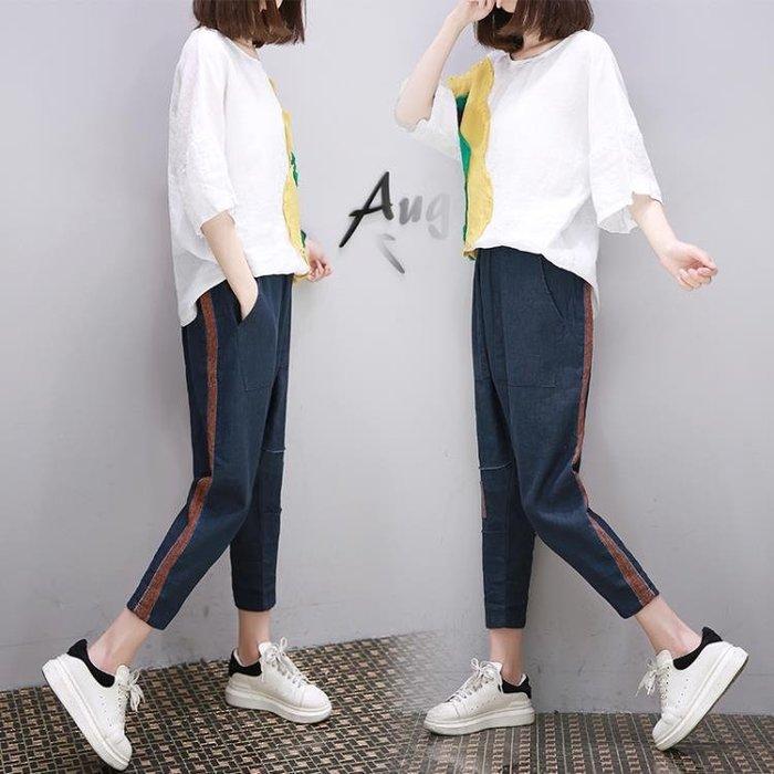 中大尺碼 2018夏夏新款小清新棉麻套裝寬鬆大碼女裝歐貨休閒兩件套潮 LI3043