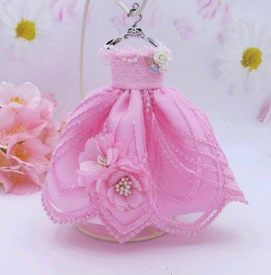 檸檬手作飾品  粉色蕾絲紗花禮服手作鑰匙圈/包包吊飾
