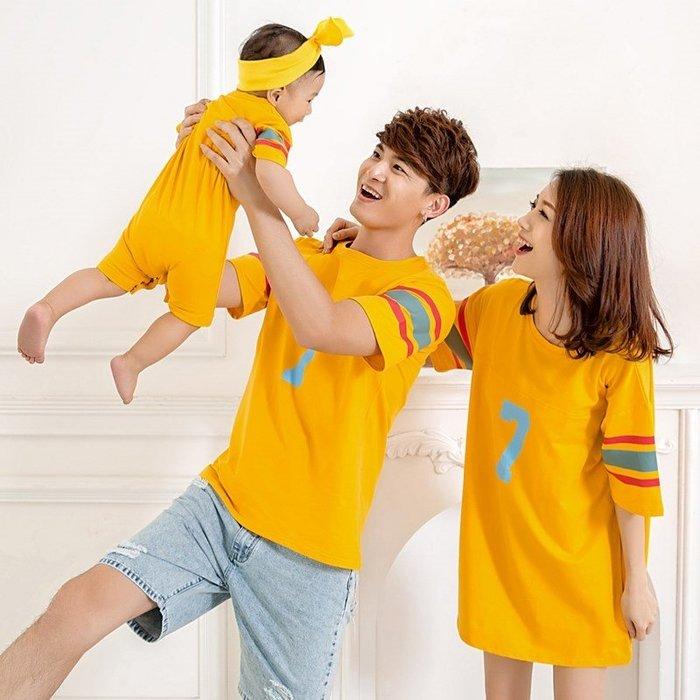 【小阿霏】爸爸款 親子裝家庭裝 寬鬆彩條袖運動風純棉T-shirt短袖上衣 父子父女裝情侶裝FA01