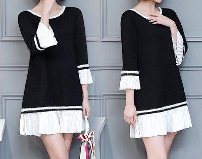 GOGO SHOP☆╭韓版新款 時尚圓領撞色拼接壓褶連身裙洋裝【Y1425】XL~5XL背心另洋裝T恤上衣 大尺碼