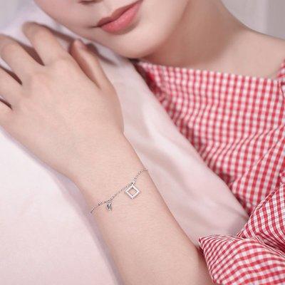 jamel韓專櫃~冷淡風幾何925純銀珍珠手鍊ins小眾設計潮簡約時尚日韓學生森系