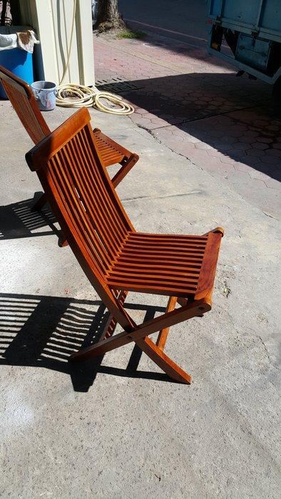 樂居二手家具 全新中古傢俱賣場 A0120CJJE 實木柚木折合椅*收納椅 休閒椅 餐椅 書桌椅 台中二手家具買賣
