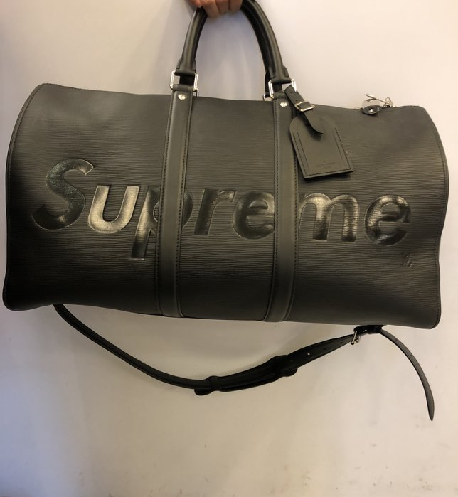 【RECOVER名品二手】 Louis Vuitton Supreme 聯名 黑色EPI旅行袋  稀有釋出 絕版增值中