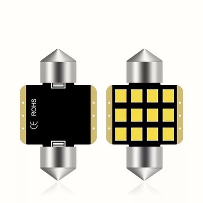 (1 pair)6000k Led c5w c10w 雙尖 Festoon 31mm 12x 2835芯片 1.8w Osram Neolux Philips