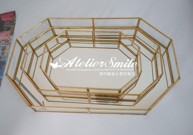 [ Atelier Smile ] 鄉村雜貨 復古歐式 手工銅製八邊形 玻璃展示首飾 收納盒 花盒 中款 (現+預)