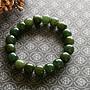 簡單Simple。現貨。30488號天然和闐玉/和田玉湖水綠青玉晴水料老型珠手珠手鍊。11MMx10MM