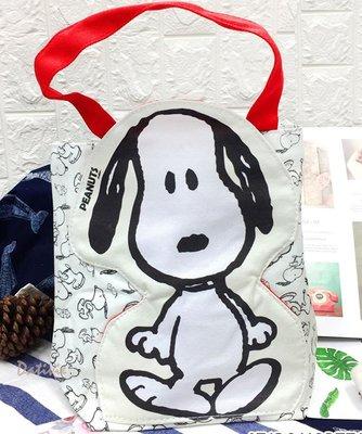 【卡漫迷】 Snoopy 帆布 手提袋 全身 ㊣版 史奴比 史努比 餐袋 便當袋 手提包 外出包 帆布包 萬用包 肩背包