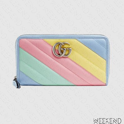 【WEEKEND】 GUCCI GG Marmont 皮革 拉鍊 皮夾 長夾 卡夾 彩色 443123