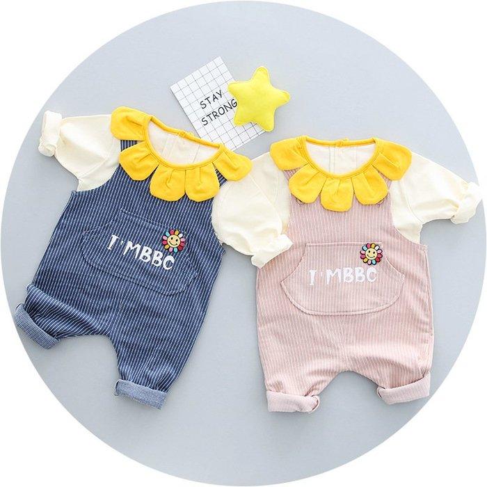 現貨 嬰幼向日葵上衣+條紋背帶褲兩件套