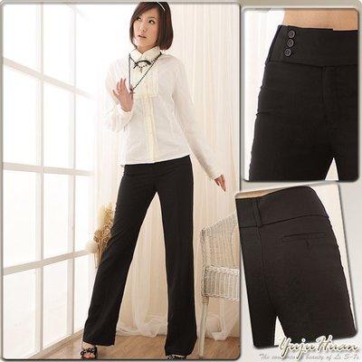 西裝褲--甜心OL必備!超級修飾款寬褲頭黑色素面中腰微喇叭西裝褲(S-7L)-P06眼圈熊中大尺碼