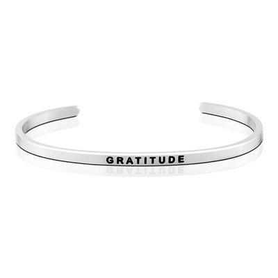 MANTRABAND 美國悄悄話手環 GRATITUDE 感恩的心 銀色手環