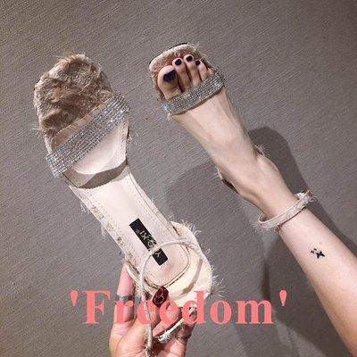 Freedom~女鞋一字帶女涼鞋2019新款時尚透明水鉆綁帶露趾粗跟高跟鞋仙女鞋百搭