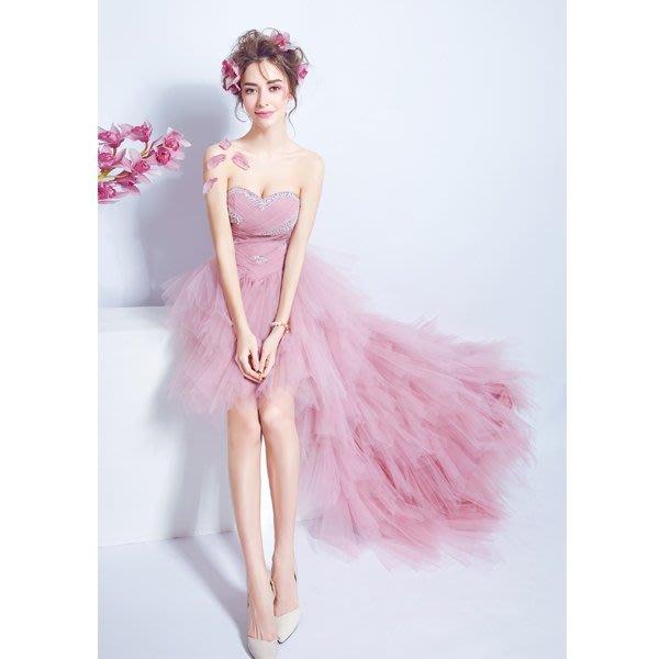 粉色抹胸前短后長款新娘婚紗小禮服晚宴年會婚禮結婚敬酒服2452Y-優思思