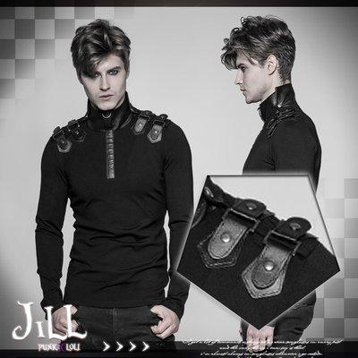 Oo吉兒oO搖滾街頭高領皮革拼接內搭上衣 視覺巴洛克黑暗系GOTHIC【JPWT525】