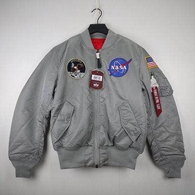 美國公司貨 ALPHA INDUSTRIES NASA APOLLO MA-1 USA 美版 刺繡 貼布 銀灰 飛行外套