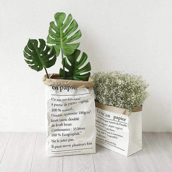 北歐居家佈置 花草風環保英文牛皮紙袋 雙層加厚款 仿真植物盆栽造景 收納 居家擺設 活動佈置 桌面擺設 園藝裝飾