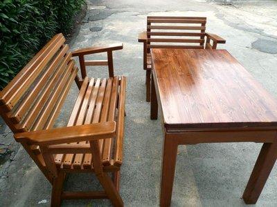 A007 {崙頂傳統原木家具行}~杉木桌配休閒躺椅+扶手購買多組有便宜【歡迎訂做 訂色】