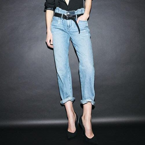 直筒褲 明星雜誌款歐美風復古刷破自然腰卷邊水洗牛仔褲+皮帶 艾爾莎【TAK8267】