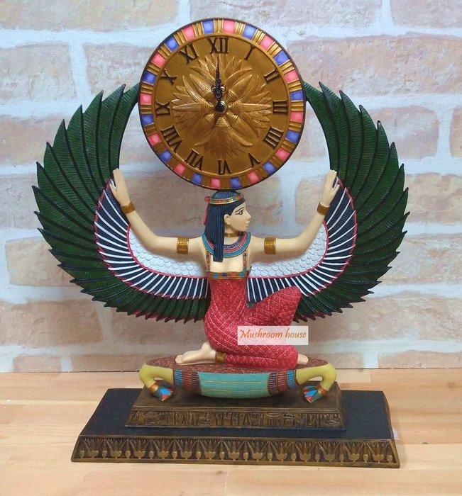 點點蘑菇屋 歐洲精品埃及伊西斯時鐘擺飾 Isis雙翅人 古埃及文明 埃及古文 圖騰 Egypt飾品 藝術品 現貨 免運費