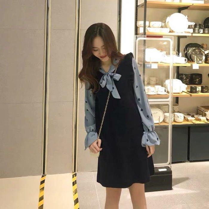 韓版氣質假兩件連身裙洋裝波點洋裝
