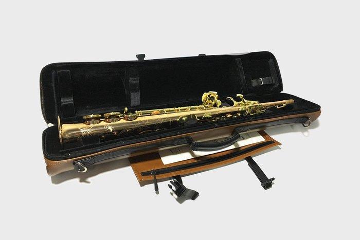§唐川音樂§【BROPRO 高音薩克斯風圓筒箱 Soprano saxophone case】(皮革款)
