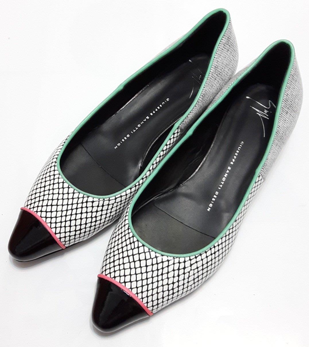 Giuseppe Zanotti Design 義大利製 全新 網格紋 平底鞋 尖頭包 低跟鞋 GZD 送口罩一片
