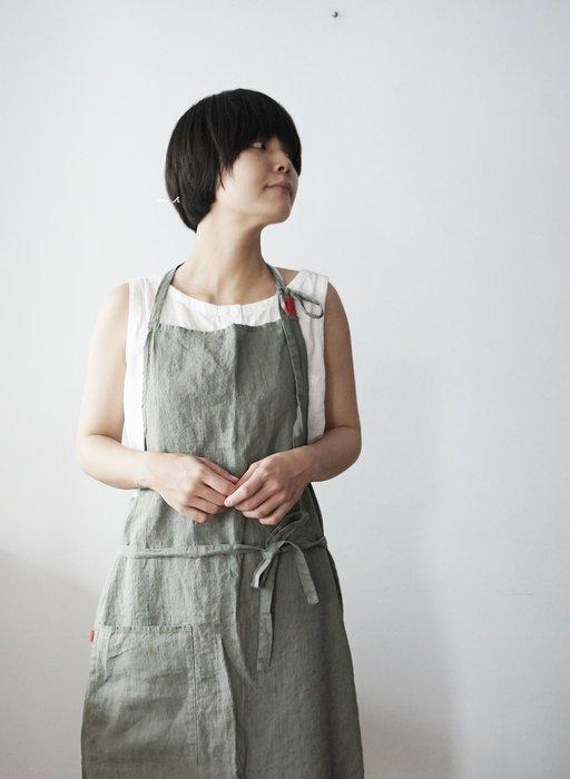 MH選物室 Lino e Lina 優雅 藍灰 綠灰 亞麻 圍裙 工作圍裙 長度可調