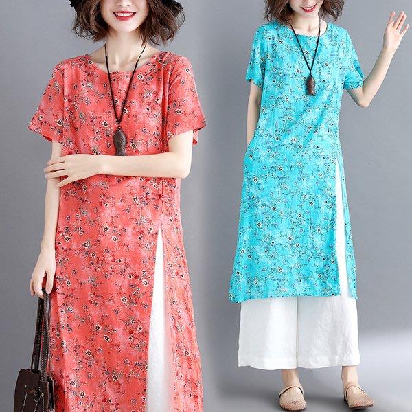 大碼洋裝 夏季民族風大碼女裝微胖mm複古印花盤扣中長款洋裝開叉棉麻裙子