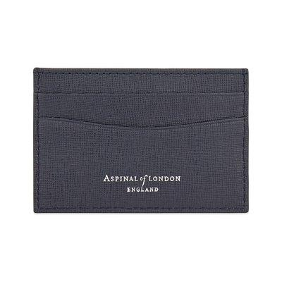 [要預購] 英國代購 ASPINAL OF LONDON 超薄saffiano皮革卡夾 海軍藍