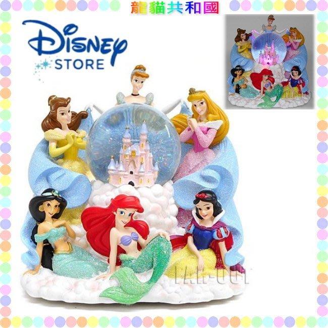 ※龍貓共和國※日本迪士尼《小美人魚 睡美人 灰姑娘仙度瑞拉 茉莉貝兒 白雪公主 水晶球LED小夜燈 音樂盒 裝飾品擺飾》