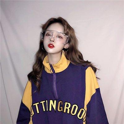 韓版刺繡立領大口袋拼接寬松百搭五分袖 短袖T恤學生女潮