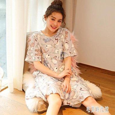 韓版睡裙女夏純棉短袖韓版甜美清新睡衣可愛卡通學生薄款家居服女zh877