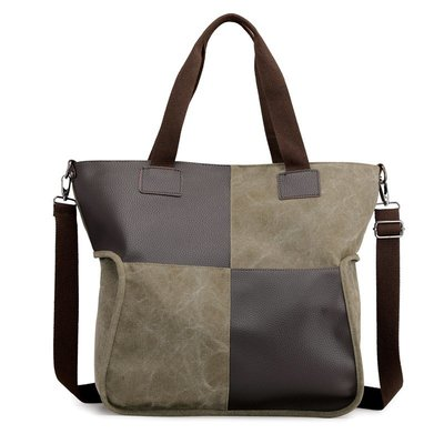 肩背包帆布手提包-撞色方塊大容量托特包女包包5色73wa45[獨家進口][米蘭精品]