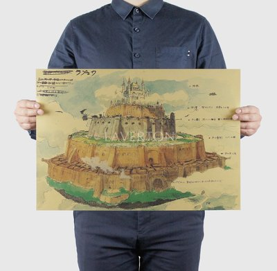 ~貼貼屋~宮崎駿 天空之城 手稿 草稿 復古海報 牛皮紙海報 店面裝飾 壁貼1158